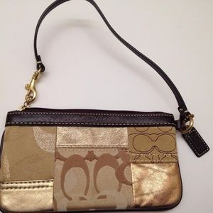 COACH METALLIC PATCHWORK WRISTLET WALLET